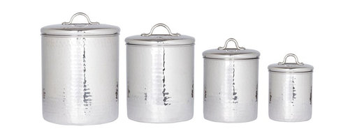 "Old Dutch International - 4 Pc. Stainless Steel Hammered Canister Set w/Fresh Seal Covers - Bring old-school cool to your countertop or pantry. These handsome hammered stainless steel canisters keep staples handy and, thanks to ""Fresh Seal®"" technology, poppin' fresh."