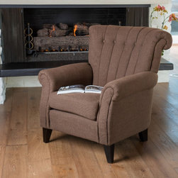 Christopher Knight Home - Christopher Knight Home Waldorf Channel Chocolate Fabric Club Chair - The Waldorf channel club chair combines classic club chair style with unique stitching and button tufts for a modern feel. Softly padded with a stable frame,you'll be able to relax in it for years to come.