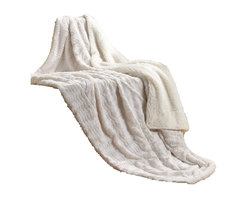 Tache Home Fashion - Tache Super Soft Ivory  Faux Fur Sherpa Throw, 63 X 87 Inches - Snuggle up by the fire or in bed with our amazingly warm cruelty free faux fur throw. Perfect for freezing nights to overnight guest and everything in between. This elegant cream throw will add a elegant look to any room