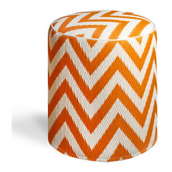 Fab Habitat - Laguna - Orange Peel & White Pouf - Chic chevrons are showcased in this sophisticated, ecofriendly pouf. This handmade two-toned round ottoman was crafted from recycled materials and will look so mod in your living room or as the stool to your vanity area.