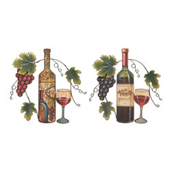 None - Metal Wall Decor 2 Assorted 15 inches high x 15 inches wide - These decorative metal wall decors feature a multicolor scheme on a wine and grape garden design. These wall decors are versatile and meaningful,perfect for bar decor.