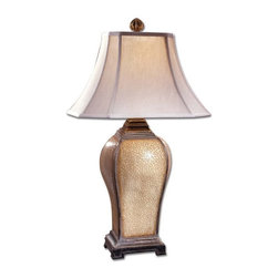 Uttermost - Baron Table Lamp - This handsome lamp is finished in an ivory porcelain crackle with a semi transparent brown glaze and distressed warm silver accents