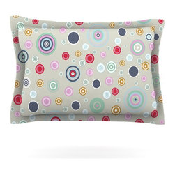 """Kess InHouse - Suzanne Carter """"Circle Circle I"""" Gray Multicolor Pillow Sham (Cotton, 40"""" x 20"""") - Pairing your already chic duvet cover with playful pillow shams is the perfect way to tie your bedroom together. There are endless possibilities to feed your artistic palette with these imaginative pillow shams. It will looks so elegant you won't want ruin the masterpiece you have created when you go to bed. Not only are these pillow shams nice to look at they are also made from a high quality cotton blend. They are so soft that they will elevate your sleep up to level that is beyond Cloud 9. We always print our goods with the highest quality printing process in order to maintain the integrity of the art that you are adeptly displaying. This means that you won't have to worry about your art fading or your sham loosing it's freshness."""