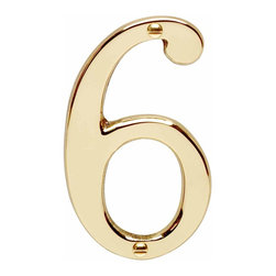 "Renovators Supply - House Numbers Bright Solid Brass #6 or 9 3 7/8"" height 