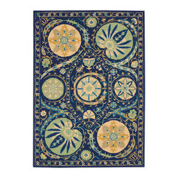 """Nourison - Nourison Suzani SUZ04 3'9"""" x 5'9"""" Blue Area Rug 13978 - A brilliant effect is created by bold orbs of fascinating floral shapes in soft colors that bloom on a field of splendid lapis blue. Movement and life are expressed in the details of this unique and exceptional design. The handmade texture of its cut and loop pile adds another visual dimension and a charming folk-art appeal."""