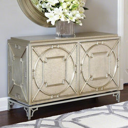 Global Views - Global Views Arabesque Chest-2 Door - The Arabesque Chest is a metal clad wooden chest with a three dimensional lattice design. Made of hardwood and MDF the exterior is totally covered in sheets of white alloy metal. The top is zinc sheet over a sub straight of ??? thick MDF