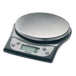 "Taylor - Salter Stainless Steel Aquatronic Kitchen Scale - Salter Aquatronic Electronic Kitchen Scale - weighs both dry and liquid ingredients.  .5"" LCD readout.  Includes baker's chart for conversion of weights to volume for selected ingredients.  Weigh on platform or with any bowl or container.  Add & weigh with tare feature.  Auto zero/auto shut off.  11 /b/5 kg capacity in 1/8 oz/1 g increments.  Black base and stainless steel weighing cover."
