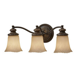 Murray Feiss - Murray Feiss Emma Traditional Bathroom Light X-ZBG-30591SV - Careful attention to detail and Old World poise are the central tenets of this contemporary wall pendant. The cream etched glass is a feature of each shade for a total of three show stopping ornaments that cast a bright light in your living room, bathroom, kitchen, or hall. The Grecian Bronze finish recalls antiquity and adds allure and a demur appearance.
