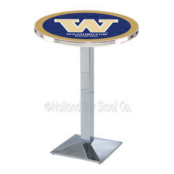 Holland Bar Stool - Holland Bar Stool L217 - Chrome Washington Pub Table - L217 - Chrome Washington Pub Table belongs to College Collection by Holland Bar Stool Made for the ultimate sports fan, impress your buddies with this knockout from Holland Bar Stool. This L217 Washington table with square base provides a commercial quality piece to for your Man Cave. You can't find a higher quality logo table on the market. The plating grade steel used to build the frame ensures it will withstand the abuse of the rowdiest of friends for years to come. The structure is triple chrome plated to ensure a rich, sleek, long lasting finish. If you're finishing your bar or game room, do it right with a table from Holland Bar Stool. Pub Table (1)