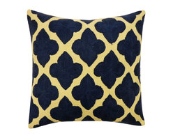 JITI - Mahal Blue Pillow - Give your living room or bedroom an elegant, exotic update with this square cotton pillow. With a pattern inspired by India's Taj Mahal, this feather and down-filled throw pillow is not only supremely stately, but also surprisingly cozy.