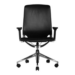 Wobi Office - Wobi Marco Midback Chair (Adjustable Arms) - The super thin and sleek profile of the Marco Series belies its luxurious comfort. You will be amazed that a chair this slim can be so strong. The Marco Midback is made of fine quality leather and exceptionally crafted polished aluminum — materials that will last for years. The unique SUSPA mechanism allows for multi-position locking back angle adjustment without a bulky mechanism under the seat.
