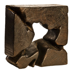 Foreign Affairs Home Decor - Abstract Teak Decor BLUNDER, Dark Brown - Handcrafted Teak Decor Squares are great display pieces. The unique shapes and distinctive wood grain show well against a wall or mixed in with your other favorite items.