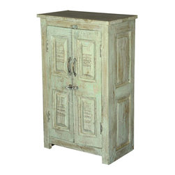 Sierra Living Concepts - Palisade Unique Carved Panel 2 Door Storage Cabinet - Very unique panels make this 2 door cabinet a one of a kind creation. Rustic furniture styling and old world charm make this reclaimed wood furniture piece extra special. Use to store dish-ware, books, craft supplies; use it to stow away just about anything.