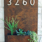 Address Plaques / Address Numbers - Welcome Home. This modern wall planter adds flair and style to vertical gardening with sleek satin nickel street numbers. Looks particularly great with succulents!