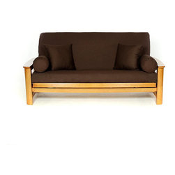 None - Brown Full-size Futon Cover - Cover your full-size futon stylishly with this comfortable cotton futon cover. This slip-resistant cover features a concealed zipper and is tailored to look great on your futon sofa.