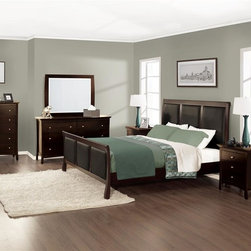 Lifestyle Solutions - Princeton 4 Pc Bedroom Set (Queen) - Choose Size: QueenIncludes: 1 Bed, 1 Nightstand, 1 Dresser and 1 Mirror. Built of tropical hardwood solids and veneer. Featured in a Twilight Cherry finish achieved via a multiple finishing process. Faux leather padded footboard and headboard. Bed features solid wood frame with 13 slat pack, center support bar and legs for increased strength and durability. Mattress not included. Nighstand with 3 drawers. Dresser with 6 drawers. Clean with damp cloth. Queen: 90.31 in. L x 61.61 in. W x 14.17 in. H (69 lbs). Eastern King: 90.31 in. L x 77.68 in. W x 14.17 in. H (51.35 lbs). California King: 94.35 in. L x 73.43 in. W x 14.17 in. H (66.96 lbs). Night Stand: 25.59 in. L x 17.99 in. W x 27.56 in. H (49 lbs). Dresser: 57.99 in. L x 17.99 in. W x 36.46 in. H (125 lbs). Mirror: 45.63 in. W x 36.18 in. H (25.9 lbs)
