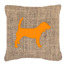 Caroline's Treasures - Beagle Burlap and Orange Fabric Decorative Pillow Bb1087 - Indoor or Outdoor Pillow from heavyweight Canvas. Has the feel of Sunbrella Fabric. 18 inch x 18 inch 100% Polyester Fabric pillow Sham with pillow form. This pillow is made from our new canvas type fabric can be used Indoor or outdoor. Fade resistant, stain resistant and Machine washable..