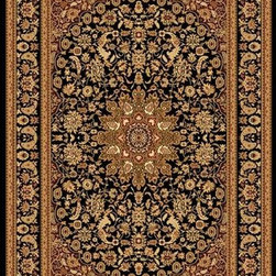 "Dynamic Rugs - Dynamic Rugs Yazd 2800-90 (Black) 7'10"" x 10'10"" Rug - YAZD is a new collection of rugs in beautiful patterns and colorations. Included are traditional, semi-classic designs with primary colors of sage, champagne, taupe, navy, red, cream, black, and ivory, complimented with shades of brown and light blue. Dense weaving enhances pattern definition and design clarity. The YAZD Collection is densely woven on machine looms in Turkey with 100% high quality heat-set polypropylene pile that is anti-static and colorfast. These rugs have a delustered finish and are stain resistant, colorfast, durable and easy to maintain."