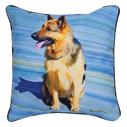 """Manual - Pair of """"Big Shutz"""" German Shepherd Dog Print Throw Pillows 18 Inch - This pair of 18 inch by 18 inch printed fabric throw pillows adds a wonderful accent to the home of any dog lover. The pillows feature a German Shepherd dog print of """"Big Shutz"""" by artist Robert McClintock on the front, and the back is solid black. They have 100% polyester stuffing. These pillows are crafted with pride in the Blue Ridge Mountains of North Carolina, and add a quality accent to your home."""