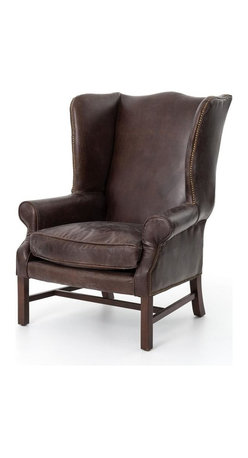 Four Hands - Hawthorne Large Wing Chair - Imagine a piece from a turn-of-the-century American manor library in your home. This chair, upholstered in top-grain leather, brings timeless elegance and an aristocratic style to your favorite traditional setting.