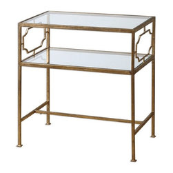 Matthew Williams - Matthew Williams 24335 Genell Side Table - An upscale, traditional design in gold-leafed iron with moderate antiquing. Top and gallery shelf are clear, tempered glass.