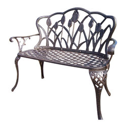Oakland Living - Oakland Living Tulip Cast Aluminum Loveseat in Antique Bronze - Oakland Living - Outdoor Benches - 1006AB - About this product: