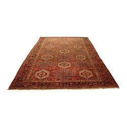 Heriz - Heriz Rug, 8.1'x12.4' - Traditional Oriental rug, 100% wool, Made in Iran - Heriz - Light brick red, green, navy, beige and turquoise.