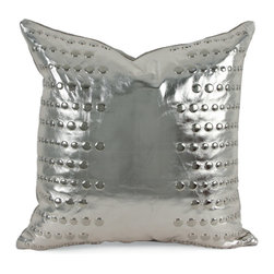 "Pfeifer Studio - Metallic Leather Stud Pillow, 20""x20"" - This glamorous pillow is created by transferring a thin layer of metallic foil onto leather, a technique similar to silver leafing. It is then hand-adorned with metallic studs in a linear pattern. Each pillow has a metallic linen back, closes with a hidden garment zipper and is fitted with a medium-fill feather and down inner. Choose from bronze, copper, gold or silver."