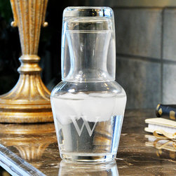 None - Custom Engraved 2 Piece Bedside Water Carafe Set - Keep water handy when studying at night with this convenient bedside water carafe. Made of clear glass, this item keeps water clean while adding a touch of elegance to your bedroom. It can hold up to 8 ounces so you won't have to fetch water every hour.