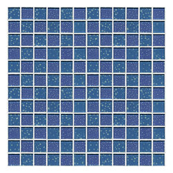 Glossy Glass Mosaic Blue Blend of Stars and Planets - Glossy glass mosaic