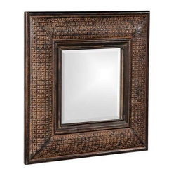 Howard Elliott Grant Antique Brown Square Mirror - Our Grant Mirror features a Antique Brown with Textured Copper Metal Overlay on a wood frame.