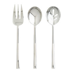 Emerge 3-Piece Serving Set - Lean and clean for contemporary serving. These quality forged serving pieces are slim-lined yet substantial in heft. Reflective mirror finish adds sparkle to tables and buffets.