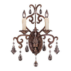 Savoy House - Florence Wall Sconce - Even a fairy princess couldn't imagine a crystal castle of a wall sconce this lovely. The tortoise shell finish grounds the design firmly on this planet, but the beauty of the full cut clear crystals is otherworldly.