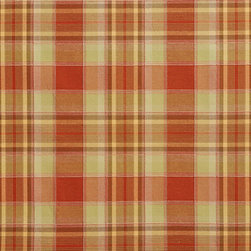 Light Green and Orange Country Plaid Upholstery Fabric By The Yard - This upholstery fabric is great for all indoor upholstery, bedding, window treatments and fabric related projects. This material combines luxury with durability. It will truly look great on any piece of furniture.