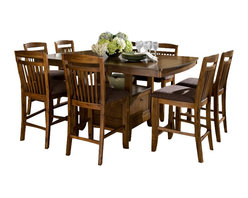 Homelegance - Homelegance Marcel 10-Piece Counter Dining Room Set with Storage Base - A classic addition to your casual dining room, your family and friends will enjoy the times they spend sitting around the Marcel collection. Seating 8 comfortably, the storage base counter height with butterfly leaf table is flanked by slat-back chairs featuring a warm brown fabric seat. Each-Piece of the collection is finished in a warm oak tone. The coordinating server features wine rack,-drawer and-door storage.