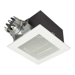 Panasonic - 190-CFM Exhaust Fan - PN FV20VQ3 - This ventilation fan produces only 1.3 sones of noise while achieving 190 cubic feet per minute of air flow. This piece fits a 6-inch duct and has a built-in back draft damper. The grill attaches directly to the housing with torsion springs and measures 15 inches square.