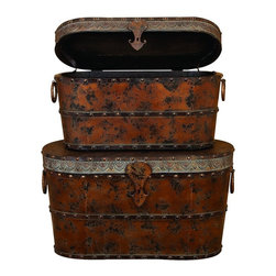 Woodland Imports - Treasure Chest Set of 2 Trunks Brown Wood Rustic Home Storage Decor 48248 - Treasure chest inspired set of 2 trunks in aged brown wood with rustic metal latches & trim antique style storage decor