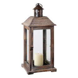 Uttermost - Denley Candleholder - Timeworn appeal; present day practicality. This weathered wood lantern comes with a distressed beige candle and tons of Old World charm. The enchanting candleholder works beautifully with a variety of design styles.