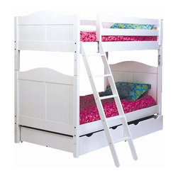 Bolton Furniture - Cottage Twin over Twin Bunk Bed in White Finish w Underbed Storage Drawers - Includes 2 headboards, 2 footboards, 2 birch siderail set, ladder, safety rail set and underbed storage drawers. Bunk bed. White finish. Assembly required. 1-Year warranty. 42 in. L x 79 in. W x 68 in. H. Underbed storage drawers: 37 in. W x 42 in. D x 9 in. H. Bunk Bed Warning. Please read before purchase.. NOTE: ivgStores DOES NOT offer assembly on loft beds or bunk beds.