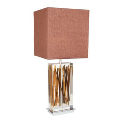 "Van Teal - Contemporary Van Teal Clear With River Cane Modern Acrylic Table Lamp - This stunning modern table lamp combines nature and luxury into one. A clear acrylic rectangular base encases several enticing river cane branches and an opulent Kohiba gold shade tops the artistic design. A chrome finish pedestal base provides just the right amount of sparkle. Clear acrylic construction. River cane insert. Kohiba gold hard back shade. Takes two 75-watt medium base bulbs (not included). 33"" high. Shade is 15"" high 14"" wide 14"" deep.  By Van Teal Lighting.  Clear acrylic construction.  River cane insert.  Kohiba gold hard back shade.  Large table lamp design.  Takes two 75-watt medium base bulbs (not included).  33"" high.  Shade is 15"" high 14"" wide 14"" deep."