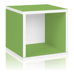 Way Basics - Way Basics Storage Cube, Green - Think inside the box! Create more space in close quarters with stackable modular storage cubes. Simple no-tool construction — just peel and stick — means you can build 'em in nothing flat. They're durable, versatile and formaldehyde- and VOC-free.