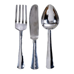 Oversize Aluminum Silver Fork, Knife & Spoon Wall Decor Set - A kitchen isn't complete until it has giant flatware in it — am I right?
