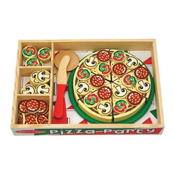 "Melissa & Doug - Melissa and Doug Pizza Party Multicolor - 167 - Shop for Cooking and Housekeeping from Hayneedle.com! What We Like About The Pizza Party. This set is crafted from wood to ensure that it stands up to the wear and tear of child's play. It comes complete with a decorative pizza box pizza spinning slicer spatula and over 50 toppings. Recommended for ages 3-7 years. Tons of fun for everyone! About Melissa & Doug ToysSince 1988 Melissa & Doug have grown into a beloved children's product company. They're known for their quality educational toys and items and have grown in double digits annually. The Melissa & Doug company has been named Vendor of the Year by such great retailers as FAO Schwarz Toys R Us and Learning Express and their toys have been honored as ""Toys of the Year"" by Child Magazine FamilyFun Magazine and Parenting Magazine. Melissa & Doug - caring quality children's products."