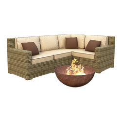 Forever Patio - Hampton 4 Piece Wicker Sectional Sofa Set, Heather Wicker and Beige Cushions - The 4 Piece Hampton Modern Sectional Set by Forever Patio With Cream Sunbrella cushions (FP-HAM-4SEC-HT-AC) sports the latest modern wicker design while providing an incredibly luxurious outdoor seating experience. The set seats 4 adults comfortably, and includes a left arm, right arm, middle and corner section.This set features Heather wicker, which is made from High-Density Polyethylene (HDPE) for outdoor use. Every strand of this wicker is infused with its natural color and UV-inhibitors that prevent cracking, chipping and fading ordinarily caused by sunlight. Each piece features thick-gauged, powder-coated aluminum frames that make the set extremely durable and resistant to corrosion. Also included with the set are cushions covered in fade- and mildew-resistant Sunbrella fabric, available in a wide selection of colors. The seating is generously sized and the back cushions are overstuffed, providing unmatched outdoor comfort.
