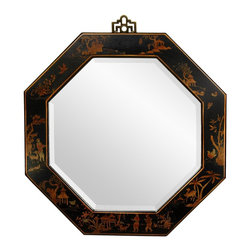 Oriental Furniture - Black Lacquer Octagonal Mirror - This black lacquered  wall mirror was hand crafted in a traditional octagonal shape, symbolizing the eight sides of the I-Ching and considered auspicious. It has been hand-painted with finely detailed Oriental art, and sports a solid brass geometric hanger on top for easy wall mounting.