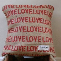 "Celebrate your LOVE Burlap Pillow Cover by My Adobe Cottage - Okay, let's say this right now: This pillow cover is not for the faint of heart! This pillow doesn't whisper its sentiment...it SHOUTS it for all to hear!! Great for anniversary, weddings or engagement gifts...anytime you'd like to celebrate your love! The cover measures 16""x16"" with an envelope closure. Insert not included. All seams have been stitched twice for reinforcement. Spot clean only. These covers are handmade by me at the time of order. Please allow roughly 10 days to complete your pillow cover."