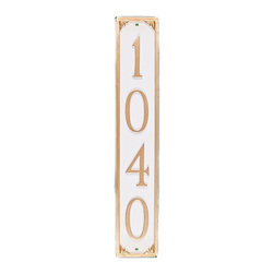 Montague Metal Products - Lily 1-Line Address Column Plaque - PCS-19-AB/G - Shop for Address Numbers Letters and Plaques from Hayneedle.com! The Lily 1-Line Address Column Plaque offers a classic look designed to fit in a variety of spaces. This vertical plaque is made of lightweight aluminum and ideal for posts or by the front door. Its highly visible numbers and background are available in a variety of color options.About Montague Metal Products:Montague Metal Products is a family-owned and operated business founded in 1989. They are located in Montague Michigan where all their items are manufacturer. Montague Metal Products creates address plaques weathervanes flag pole eagles and other outdoor accents. They create these high-quality aluminum outdoor decor using the age-old sand casting method. Montague Metal takes great pride in providing durable quality items at a reasonable price.