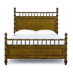 Magnussen - Magnussen Palm Bay King Poster Bed in Toffee - The comfort and calm style of the Palm Bay collection displays one of comfort and casual classiness with its Caribbean style elements. It is crafted of primavera veneers with radiant toffee finish that is warm and appealing. The attractive look of Bamboo accents the cases and bed while pineapple finals accentuate bed posts. These designs blended with a textured gun metal hardware complete the island look.