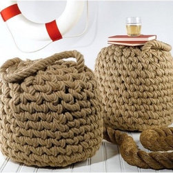 Seafarer's Rope Ottoman - These nautical rope ottomans are perfect for either indoor or outdoor use. I love their beach feel.
