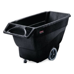 "RUBBERMAID COMMERCIAL PRODUCTS - STRUCTURAL FOAM TILT TRUCK, UTILITY DUTY, 3/4 CUBIC YARD, BLACK - Durable molded trucks handle heavy loads with ease. Fits through standard commercial and onto elevators easily. Non-marking casters reduce touch-up cleaning.  Constant force design allows for controlled dumping by one person. Easy to clean and virtually maintenance free. Unique ""steering wheel"" handle provides excellent maneuvering capability. Optional tilt trucks lids available. LEED Credits"